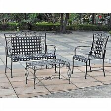 Black Wrought Iron Outdoor Furniture In International Caravan Black Wrought Iron Outdoor Furniture Sets For Sale Ebay