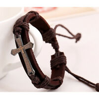 Leder Armband Geflochten Bracelet Legierung Surferarmband Herren Damen/