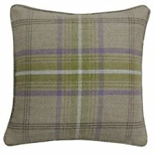 """2 X TARTAN CHECK WOVEN WOOL LOOK GREEN PIPED 18"""" - 45CM CUSHION COVERS"""