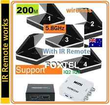 Wireless 5.8G AV Sender 4 Receivers Support FOXTEL IQ3 + HDMI Splitter & Adapter