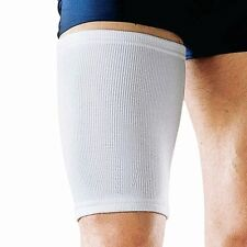 2 White Elasticated Thigh Support Sleeve Wrap Protector Guard Elastic Brace Gym
