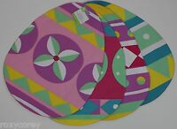 Easter Blue Yellow Purple Pink Blue Egg Shaped Placemats 4 Pack 13x17 NWT