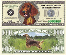 Irish Setter K-9 Dog Novelty Currency Bill #272