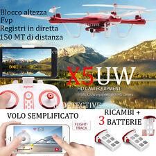 SYMA X5UW Drone con CAMERA WiFi HD 720p reali barometro FPV volo facilitato