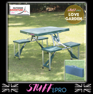 🌈Fold Away & Carry Table And Chair Bench Set Camping Portable Foldable 4 Seater