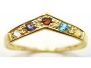 slender 9 crt eternity wishbone ring v band of pretty multi gemstones sz N