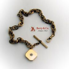 Antique 10 K Gold Watch Chain 14 K Gold Locket Diamond Accent