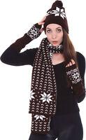 Women Men Winter Warm Set Christmas Knitted Snowflake Beanie Scarf Gloves Mitten