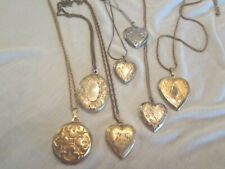 Fabulous Lot Of 7 Vintage Engraved Lockets With Chains