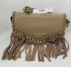 Michael Kors Fringe Leather Waist Crossbody Bag - Beige/Truffle
