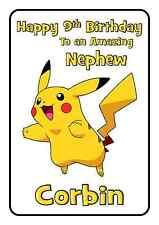 pokemon pikachu personalised A5 birthday card son daughter nephew sister name