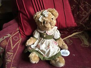 """VANITY FAIR LARGE 14"""" GOLDEN BROWN TEDDY BEAR SOFT TOY WEARING DRESS NEW TAGS"""