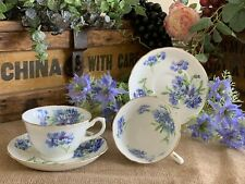 Hammersley Cornflower Teacups & Saucers PAIR!