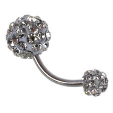 Bling Rhinestone Crystal Ball Navel Belly Button Ring Stainless Steel Pierc J6S3