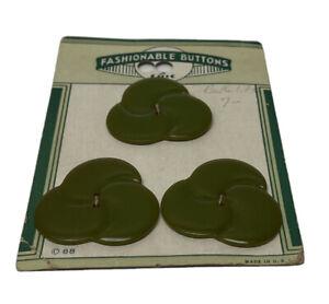 "Lot 3 ""Fashionable Buttons"" Green Flower Bakelite Buttons"