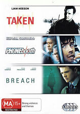TAKEN / PHONEBOOTH / BREACH Triple Feature DVD R4 - PAL - New