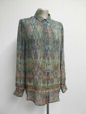 Jigsaw 100% silk shirt multicolour lightweight with smocking detail to back UK14