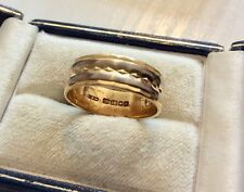 Superb Quality Vintage Solid Heavy 18 Carat White & Yellow Gold Band Ring 18CT