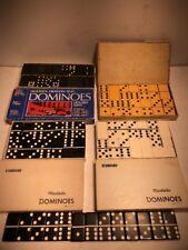 Lot Vintage Dominoes Standard Double Nine Six Marblelike Ivory Black Wooden