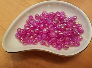Vintage Rosebud Pink Champagne  AB Luster Plastic Lucite Beads 8mm 144 pc pack