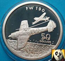1991 Islas Marshall $50 dólares plata alemana FW 190 aviones de la segunda guerra mundial moneda de prueba