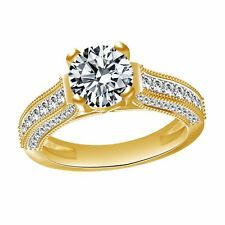 Band Ring 14K Yellow Gold Simulated Round Diamond Solitaire Engagement