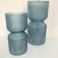 More details for blue glass diamond hour glass vase in 2 sizes medium or small.