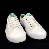 Keds Kickstart Perforated Leather Oxford Tennis Sneakers White Green Accent  11