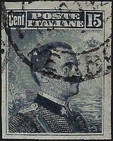 Regno - 1911 - 15 cent. grigio  - NON DENTELLATO - usato - Sassone n.96e