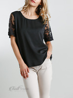 Umgee Women's Black Round Neck Floral Embroidery Detail on Short Sleeves Top NEW