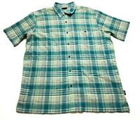 Patagonia Mens Green Plaid Front Pocket Button Front Shirt Size XL