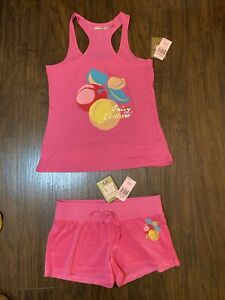 "Juicy Couture Original Label Tracksuit ""Passion pink"" Tank Terry Cloth Shorts M"