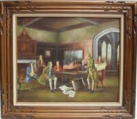 Vintage oil painting on canvas depicting an interior scene, Signed, Framed