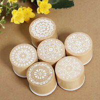 Set of 6 Vintage Floral Flower Round Wooden Rubber Stamp Scrapbooking Wedding ME