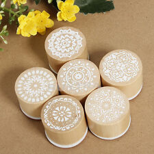 6pc Round Wooden Assorted Retro Vintage Floral Pattern Rubber Stamp Scrapbook GZ