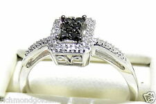 10K White Gold Black BIAMOND ENGAGEMENT RING Halo Vintage Style