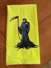 Embroidered Velour Hand Towel - Halloween - Full Grim Reaper - Lime Green Towel