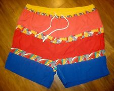 Vtg 80s MTO Sailing Flag Mens LARGE polo Nautical Swim suit trunks board shorts