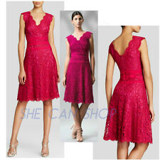 $348 NWT Tadashi ShoJI LOTUS PINK V-neck Banded Lace Fit And Flare dress SZ  14