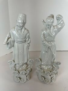 Antique China De Blanc Chinese Immortals Set of 2 Men Male Figures Early 20th C.