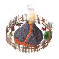 Volcano Dinosaur Playset with 8 Dinosaurs Figures, Mist-spouting Volcano Set