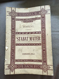 "ANTIQUE ""ROSSINI - STABAT MATER"" NOVELLO SHEET MUSIC PAPERBACK SONGBOOK"