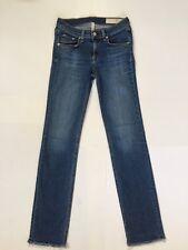 Rag & Bone Women's Straight Leg Mid-Rise Skinny Jean Raw Hem Size 26 USA Made