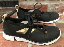 Clarks Trigenic Black Leather Tie Up Comfort Sneakers Size 7.5