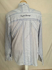 English Laundry Button Shirt Large White Blue Plaids & Checks Striped Embroidery