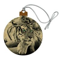 Black and White Tiger with Blue Green Eyes Wood Christmas Tree Holiday Ornament