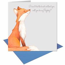 Will you be my Pageboy Wedding Fox card with Blue envelope UK FREE POST
