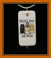 WORLD'S BEST CAT MOM DOMINO PENDANT WITH MATCHING BOX