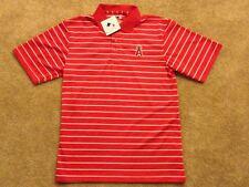 NWT Men's Medium Anaheim ANGELS MLB Striped Button Up Polo Shirt