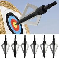 12PCS Archery Black Broadheads 3blade 100grain For Recurve Compound Bow H Dzyj